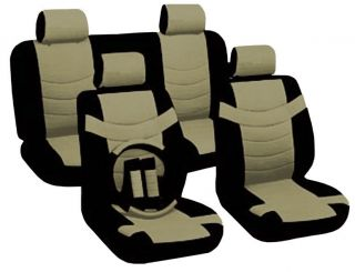 Car Seat Covers Original Accent Black Tan PU Leather Steering Wheel Set CS