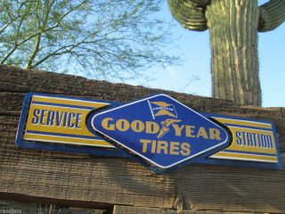 Goodyear Tires Service Station Metal Sign Auto Shop Sign Motor Oil Can Rack Esso