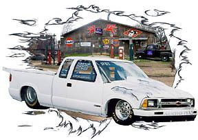 1990 White Chevy S10 Pickup Truck Custom Hot Rod Garage T Shirt 90 Muscle Car T