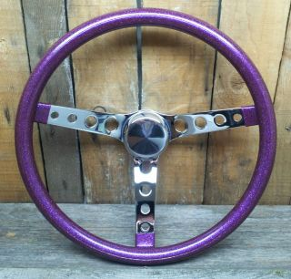 "15"" Purple Metalflake Steering Wheel Rat Hot Rod Custom Vtg Syle Gasser VW Bomb"