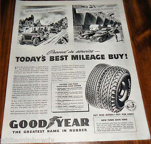 1944 WW II U s Army Jeep Goodyear Tires Military Home Front Ad