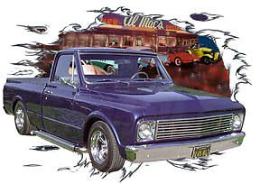 1967 Blue Chevy Pickup Truck C Custom Hot Rod Diner T Shirt 67 Muscle Car Tee'S