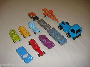 "11 Tootsie Toy "" Die Cast Metal Car Lot Race Cars Trucks Boat Trailer Hot Rods"