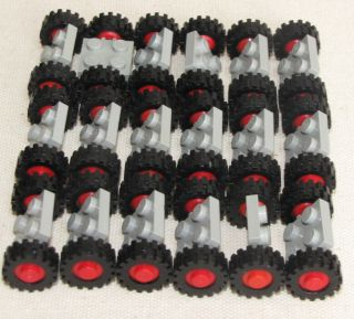 Lego Lot of 18 Small Grey Black and Red Town Car Truck Tires Wheels Pieces