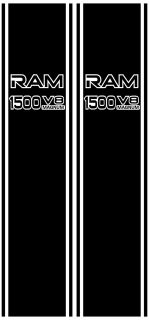 Truck Vertical Rear Panel Decal with RAM 1500 V8 Magnum Liter Cutouts