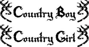 Country Boy Girl Banners 2 Vinyl Decal Car Truck Decals Easy to Apply