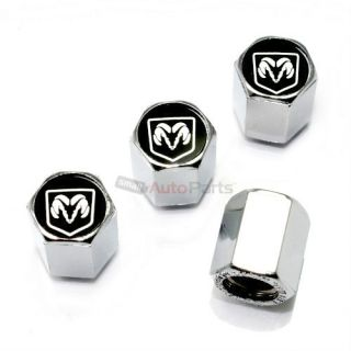 4 Dodge RAM Black Logo Chrome ABS Tire Wheel Stem Air Valve Car Caps Covers