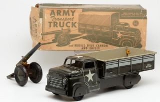 "RARE 14"" Marx Army Transport Truck with Field Canon Tin Litho Toy Car Truck"