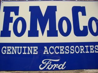 "FoMoCo Genuine Ford Accessories Metal Shop Sign Vintage Look ""Man Cave Signs"""