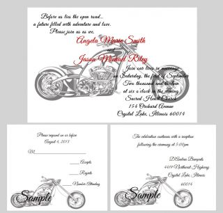 100 Personalized Custom Harley Davidson Motorcycle Bridal Wedding Invitations