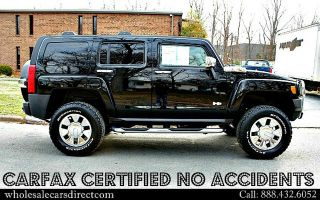 Hummer H3 for Sale Lifted Black Leather Chrome Wheels Rims Heated Seats