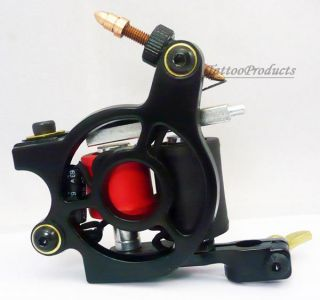 New Professional 10 Wrap Coils Tattoo Machine Gun Supply Black Alloy Frame Liner