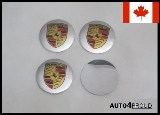 4X Porsche Wheel Center Sticker Emblem Hub Cap Center Decal Logo Aluminum– 55mm
