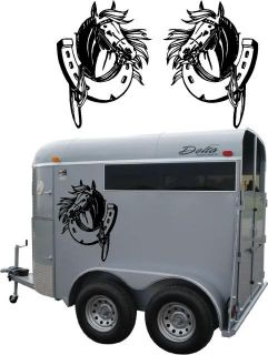 Horse Head with Horseshoe Pony Farm Decal Graphic Fits Any Car Truck Trailer RV