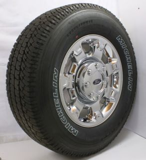 "New Take Off 2013 Ford F250 F350 8 Lug 18"" Chrome Wheels Rims Michelin Tires"
