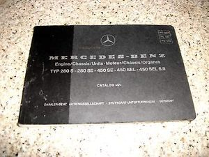 Mercedes Parts Catalog D 280s 280SE 450SE 450SEL 1975 76 Good Condition in 4 Lng