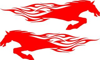 "Horse Flames Vinyl Car Decals for Motorcycle Truck or Trailer 27"" x 8"" Red"