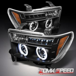 Toyota Tundra CCFL Halo LED Black Projector Headlights