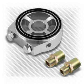 Silver JDM Aluminum M20 Oil Filter Sandwich Adapter Plate for Oil Temp Gauge V2