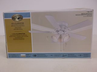 Hampton Bay Clarkston 44 in White Ceiling Fan