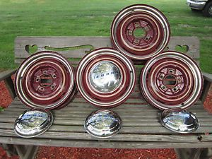"5 16"" x 4"" Ford Wheels 5 5 on 5 Hub Caps Trim Rings 1940 Hot Rat Street Rod Nice"