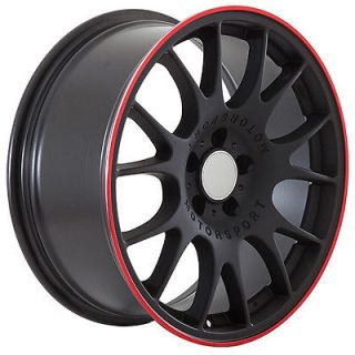 18 inch Audi Wheels Rims Black Red Stripe BBs Style
