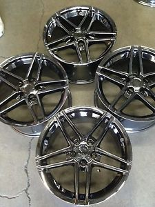 "18"" 18x9 5 PVD Black Chrome Fits 1984 1985 1986 1987 C4 Corvette Wheels Rims Set"