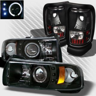 1994 2001 Dodge RAM Halo LED Projector Headlights Tail Lamp Head Lights Set Pair