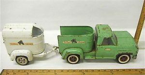 Vintage Tonka Pressed Steel Farms Truck Horse Trailer