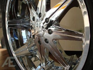 "24"" Dub Chrome Wheels Tires Avalanche Denali Escalade"