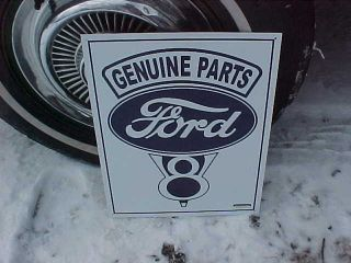 Genuine Ford Parts V8 Tin Sign Mint Huge Logo The Car Truck Collectors 1 Choice