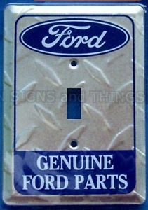 Genuine Ford Parts Light Switch Plate Cover Metal Garage Emblem Sign Car Truck