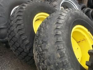 Two Used 44 1400x20 Goodyear Turf Tires on Wheels John Deere Applications