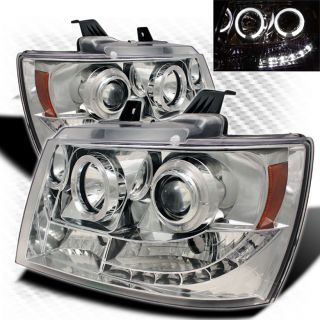 07 14 Chevy Suburban Tahoe Twin Halo LED Projector Headlights Head Lights Pair