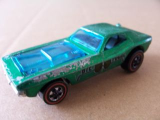 Vtg 1970 Redline Hot Wheels Bye Focal Custom Car Green w See Through Hood