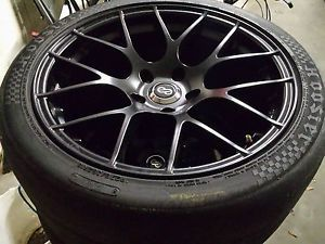 4 18x9 5 Enkei Raijin Black Wheels 5 120 35mm Offset with Used Hoosier R6'S