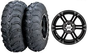 "Honda Rancher 350 400 420 Without IRS ITP SS212 Wheels 25"" Mud Lite Tires Kit"
