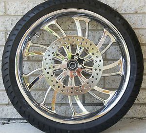 "Used 21"" Bagger Renegade Aspen Chrome 21x3 5 Wheel Touring FLH Tires Rotors"