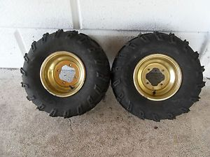 "9"" Gold Rear Rims ITP Tires Yamaha Banshee YFZ 350 YFZ350 YFZ450 Raptor Wheels"