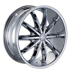 "22"" Red Sport RSW44 6 Lug Wheel Set 22x9 5 Chrome Rims 5x112 5x139 7 rwd Rims"
