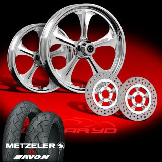 "Adrenaline Chrome 21"" Wheels Rotors Tires Package Set 00 07 Harley Bagger"