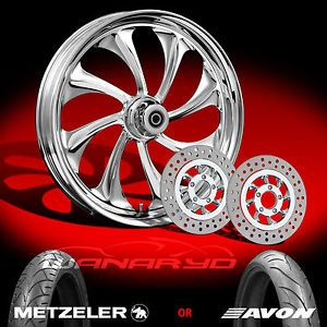"Twisted Chrome 21"" Front Wheel Tire Dual Rotors for 2000 13 Harley Touring"