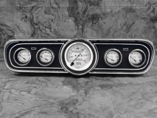 65 66 Mustang Billet Aluminum Adapter Panels w Auto Meter Old Tyme White Gauges