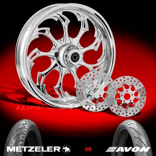 "Widow Chrome 21"" Front Wheel Tire Dual Rotors for 2000 13 Harley Touring"