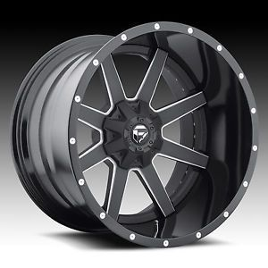 20x10 Fuel Offroad 2pc Maverick Black Milled Rims Truck Wheels Falken Tires