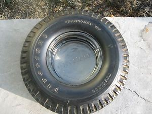 Vintage Firestone Tire Ashtray w Embossed Firestone Glass Insert Semi Truck