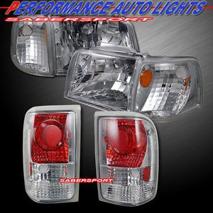 93 97 Ford Ranger Euro Clear Style Headlights Corner Tail Lights 6pcs Combo