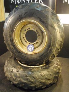 Used Front Wheels Tires Dunlop AT25X8 12 25 8 Mud All Terrain ATV Bald Worn