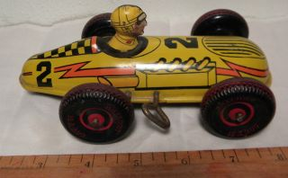 Vintage Tin Litho Marx Toy Wind Up Race Car 2 Balloon Tires Made in USA