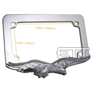 Universal 3D Eagle Hawk Chrome Metal Motorcycle License Plate Frame Honda